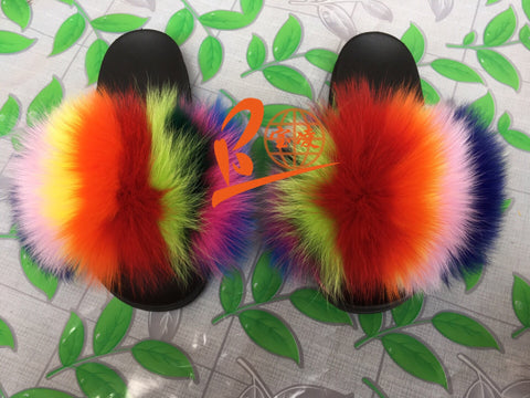 BLFC03 Rainbow Colorful Splat Fox Fur Slippers