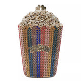 CDB03 Popcorn bags Crystal Dinner evening party clutch with chains