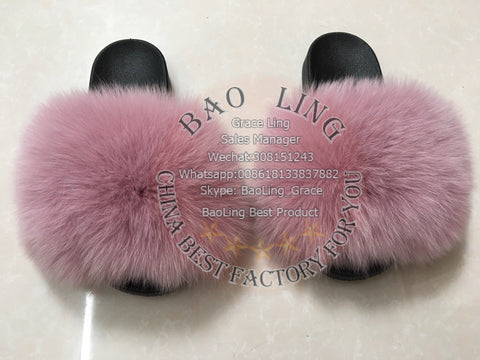 BLFBDP Dark Pink Biggest Fox Fur Slides