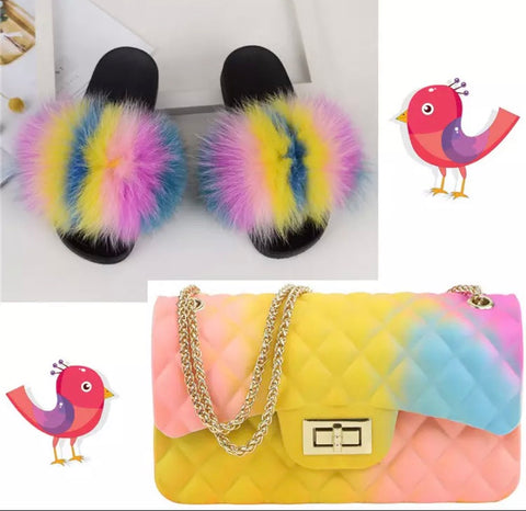 BLSB004 Fox Fur Slides Slippers with handbag Purse One Set