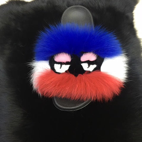 BLFM11 White Blue Orange Monster Fox Fur Slides
