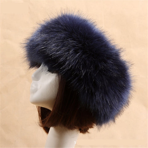 BLFFHDB Hot Sale Best Quality Dark Blue Faux Fur Headband