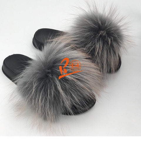 BLRGOT Grey Orange Top Raccoon Fur Slippers