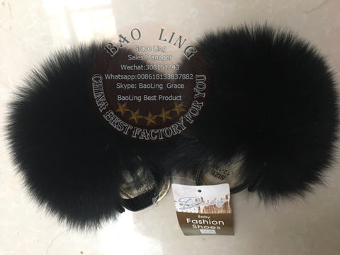 BLBB Super Cute Baby Black Fox Fur Slides Slippers