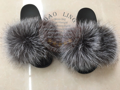 BLFBS Natural Silver Fox Biggest Fox Fur Slides Slippers
