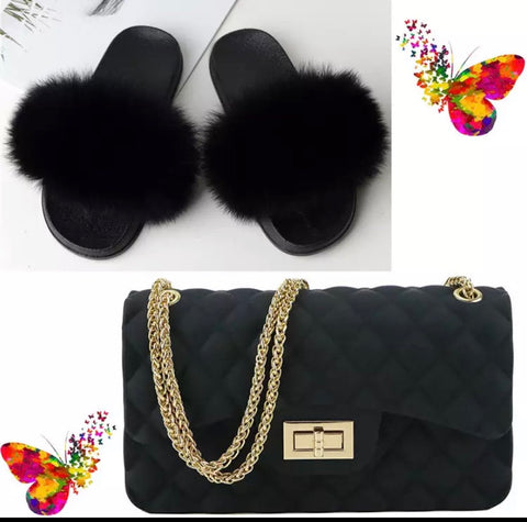 BLSB010 Fox Fur Slides Slippers with handbag Purse One Set