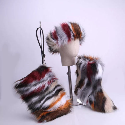 BLFT02 Hot Sale Faux Fur Boots Headband Bags
