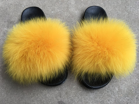 BLFSCG Ginger Color Fox Fur Slippers