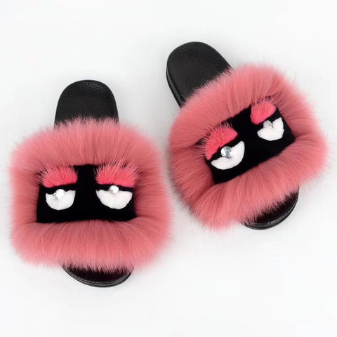 BLFM15 Dark Pink Monster Fox Fur Slides