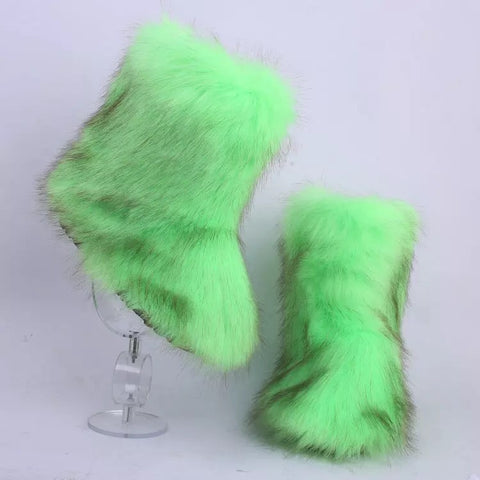 BLFFBG Hot Sale Green Boot Faux Fur Boots