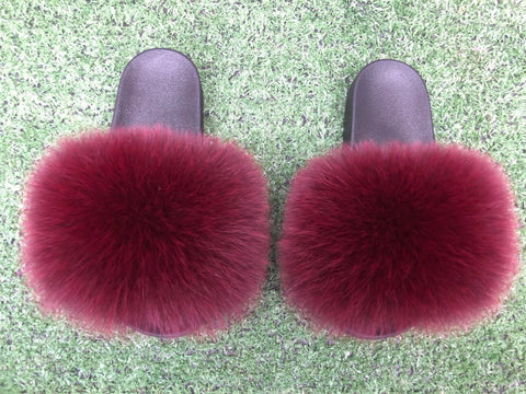 BLFWR Fashion New Design Wine Red Fox Fur Slippers Slides
