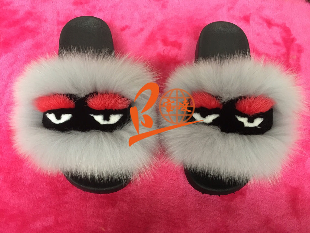 blfm08 colorful rainbow monster fur slides baolingshop