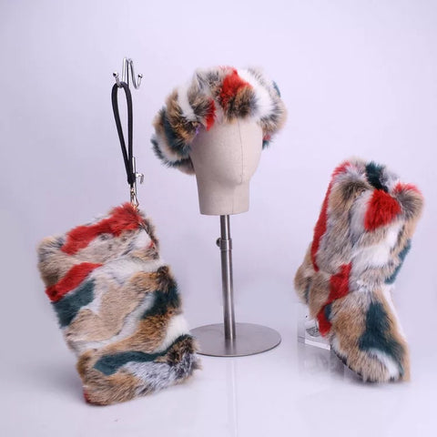 BLFT06 Hot Sale Faux Fur Boots Headband Bags