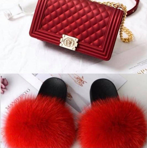 BLSB20 One set Fur Slides Slippers Purse Handbags