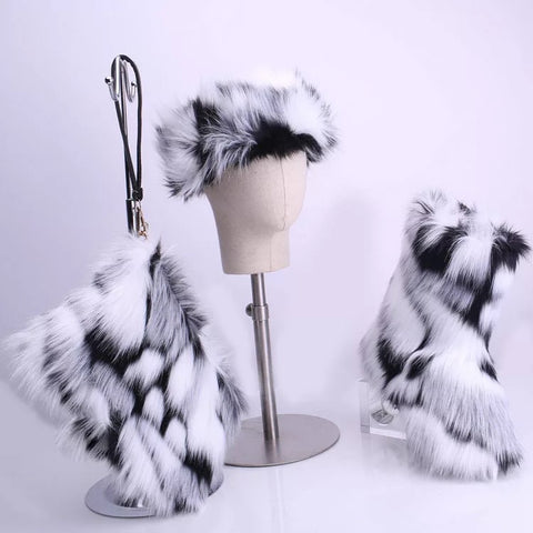 BLFT07 Hot Sale Faux Fur Boots Headband Bags