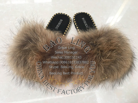 BLRN02 Natural Raccoon Fur Slippers