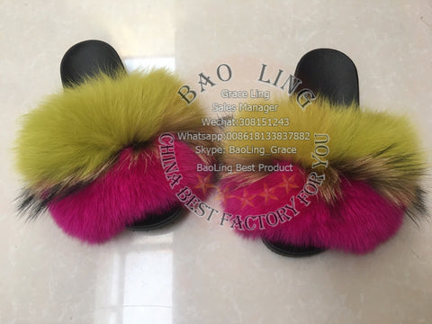 BLRBAGF Biggest Apple Green Fuscia Hot Pink Fox Raccoon Fur Slippers