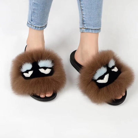 BLFM13 Light Brown Monster Fox Fur Slides