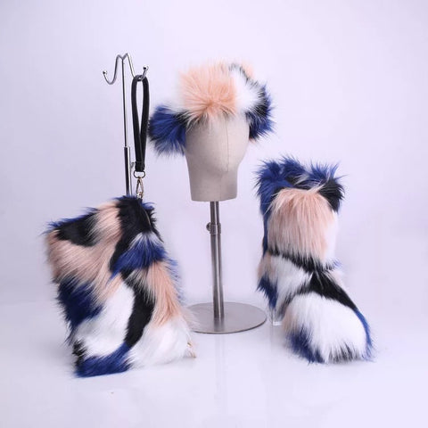 BLFT03 Hot Sale Faux Fur Boots Headband Bags