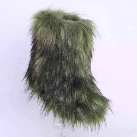 BLFFBAG Hot Sale Army Green Boot Faux Fur Boots