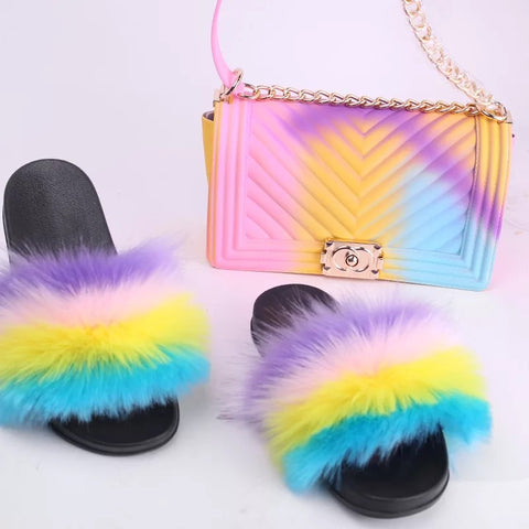 BLSB07 Faux Fur Slides Slippers with handbag Purse One Set