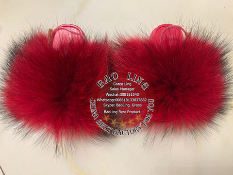 BLTRR Red Raccoon Fur Slides Slippers