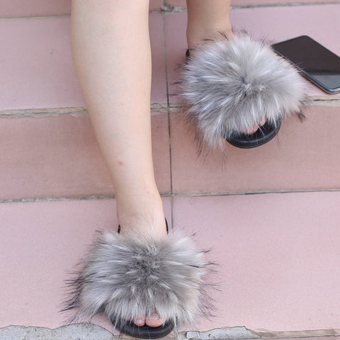 BLTFAUX02 Grey Faux Fur Slides Slippers