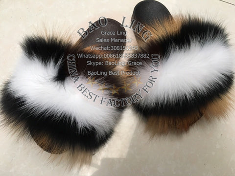 BLFBRFWB Biggest Red Fox Black White Fox Fur Slides