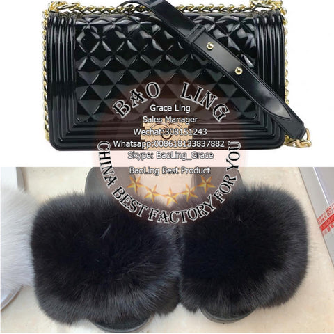 BLSB19 One set Fur Slides Slippers Purse Handbags