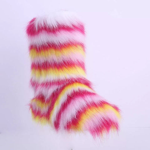 BLFFB03 Hot Sale Colorful Faux Fur Boots
