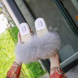 BLFSCS01 Straw Sole Beige Fox Fur Slippers