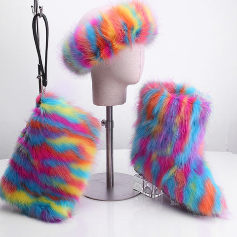 BLFT01 Hot Sale Faux Fur Boots Headband Bags