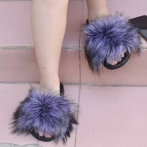 BLTFAUX06 Faux Silver Fox Fur Slides Slippers