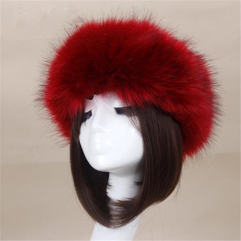 BLFFHWB Hot Sale Best Quality Wine Red Faux Fur Headband
