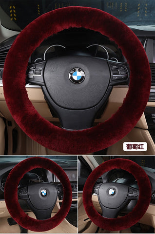 BLWC02 Short Wool Fur Steering Wheel Covers