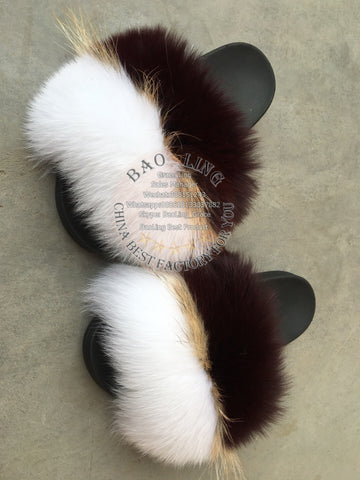 BLFRWRW Wine Red White Raccoon Fox Fur Slippers