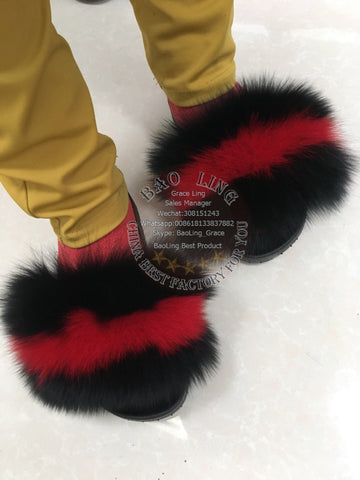 BLFBBR Biggest Black Red Fox Fur Slides