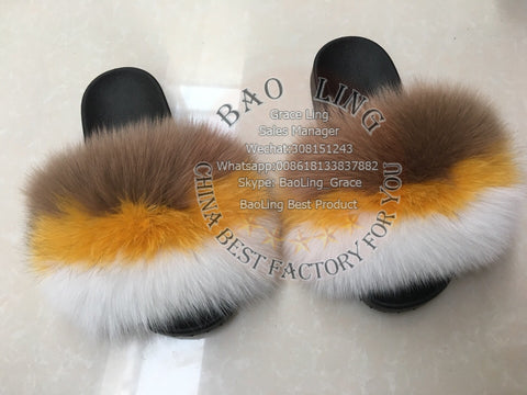 BLFBRFWHB Biggest Red Fox White Heaven Blue Fox Fur Slides