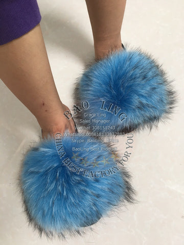BLRBHB Biggest Heaven Blue Raccoon Fur Slippers