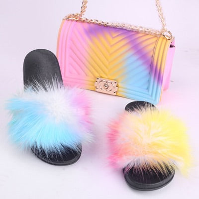BLSB04 Faux Fur Slides Slippers with handbag Purse One Set