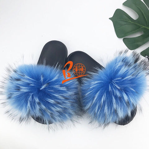 BLRN Natural Raccoon Fur Slippers