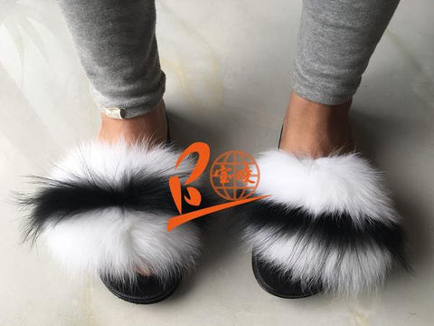 BLFRW White Fox Black Raccoon Fur Slippers