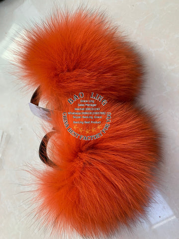 BLBO Super Cute Baby Orange Fur Slides Slippers