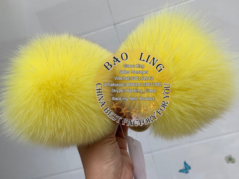 BLBY Super Cute Baby Yellow Fur Slides Slippers