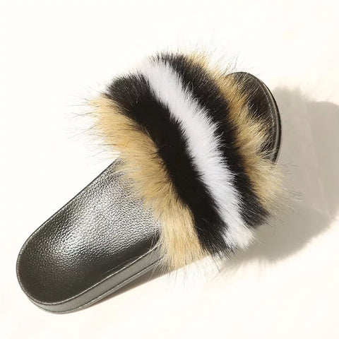 BLFAUXBBW Brown Black White Faux Fur Slides Slippers