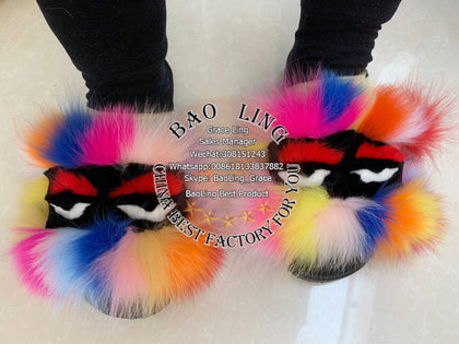 BLFM07 Colorful Rainbow Monster Fur Slides Slippers