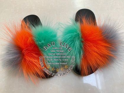 BLRGOG Green Orange Grey Raccoon Fur Slippers Slide