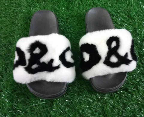 BLRRBW DG Black White Rex Rabbit Fur Slippers Slides