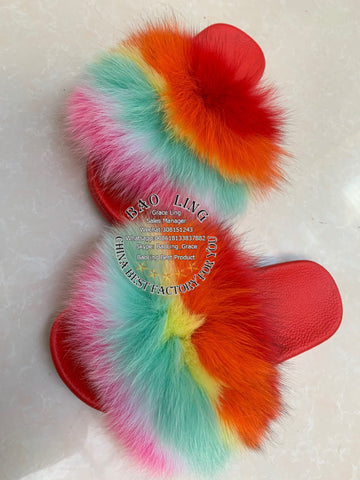 BLFC Colorful Horizontal Rainbow Fox Fur Slippers Red Slides