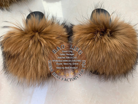 BLRBDR Biggest Dyed Raccoon Fur Slippers